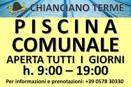 Piscina Comunale Chianciano Terme - Aperta tutti i giorni dalle 9 alle 19.
