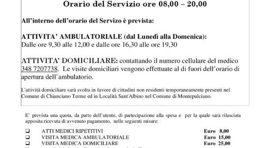 ASSISTENZA SANITARIA AI TURISTI  - Dal 15 luglio al 15 settembre 2017