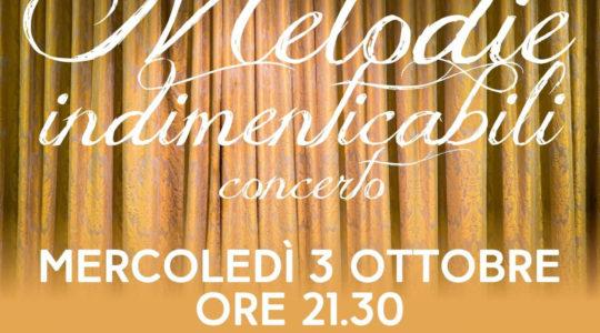 Melodie indimenticabili - Concerto - Mercoledì 3 Ottobre Ore 21.30 - Parco Acqua Santa - Salone Nervi - Ingresso Libero